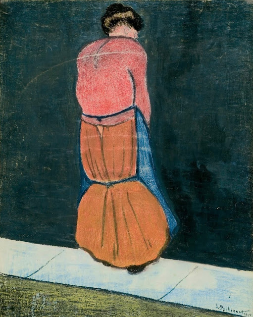 Léon Spilliaert, 'Fishermans Wife', 1910. Indian ink wash, brush, wax crayon, pastel and coloured pencil on paper, 64.3 x 48.9 cm.