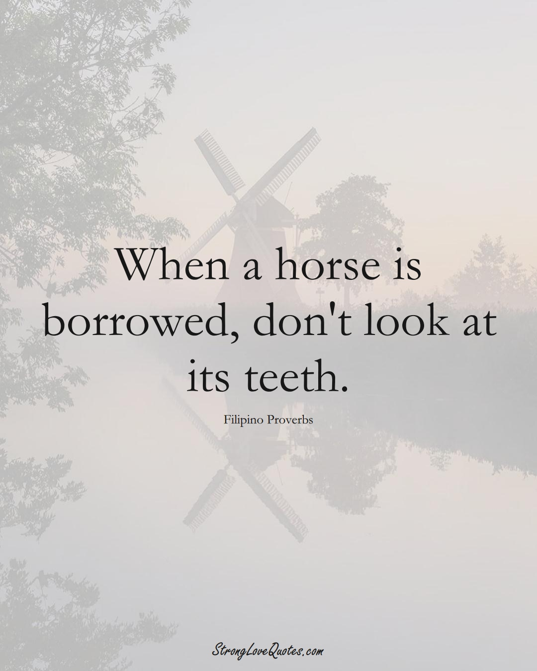 When a horse is borrowed, don't look at its teeth. (Filipino Sayings);  #AsianSayings