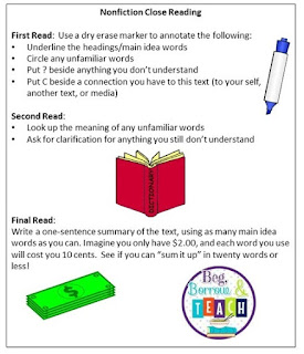 What to Do With Students Who Finish First: Nonfiction Close Reading Bookmarks