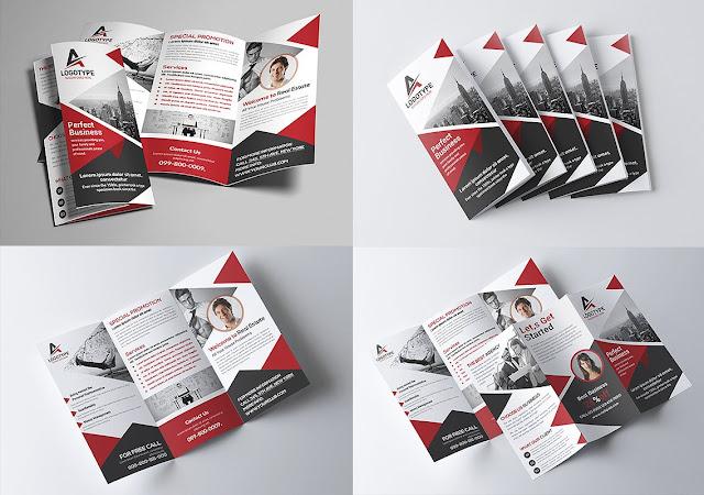 تصميم بروشور مفتوح psd جاهز للتعديل تصميم مثلثات