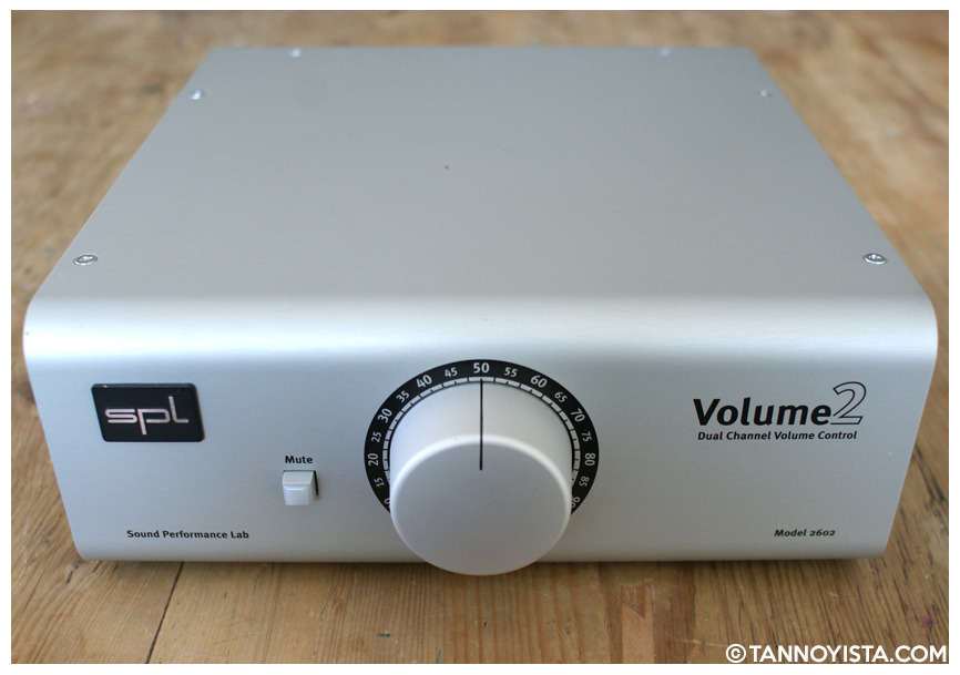 Showing the front control panel of the SPL Volume2 Monitor Controller - Volume and Mute controls - Tannoyista.com