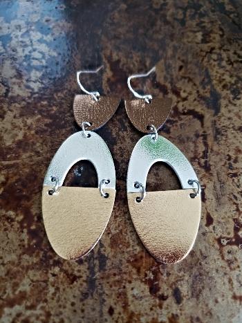 Tri Metallic Leather Dangling Earrings
