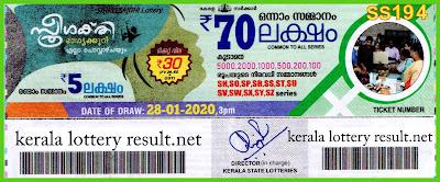 Kerala Lottery Result 28-01-2020 Sthree Sakthi SS-194 (keralalotteryresult.net)