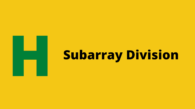 HackerRank Subarray Division problem solution