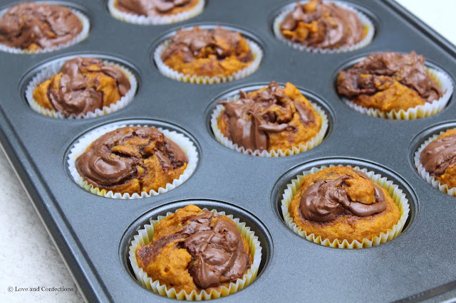 Chocolate Hazelnut Swirl Pumpkin Muffins from LoveandConfections.com #PumpkinWeek