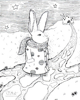 Bunny Journey To The Almighty Ink Drawing By Tawnya Boe