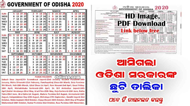 Odisha Govt Calendar 2020 with Holiday List Image High Quality PDF Download