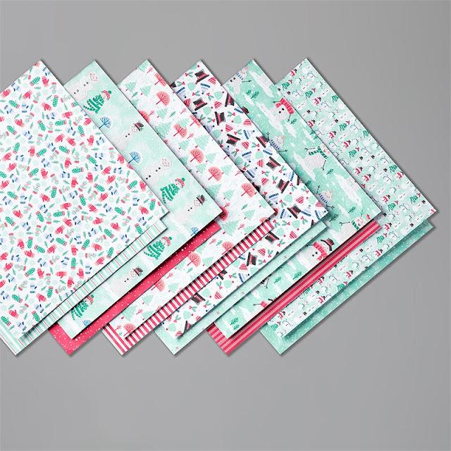 Papier design de Noël Le Bonhomme de neige Stampin' Up!