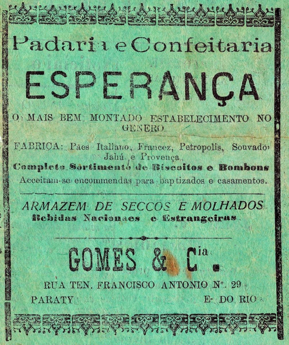 Propaganda antiga da Padaria e Confeitaria Esperança veiculada em 1932 na cidade de Paraty-RJ