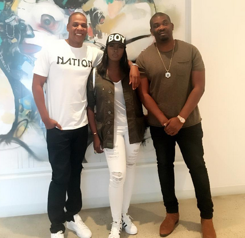 Tiwa Savage and don jazzy with jay z at the roc nation headquarters in New York