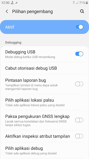 Pengaturan USB Debugging samsung