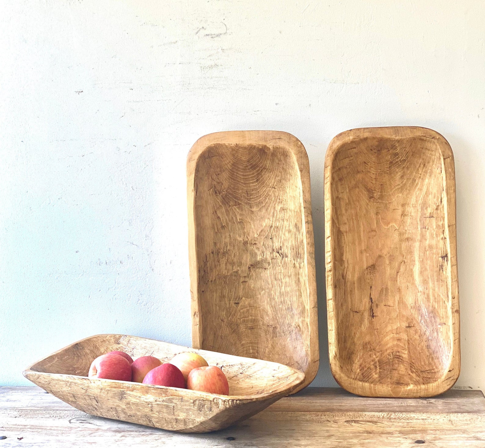 A vintage wooden dough bowl is great for decor, especially when you know the history!