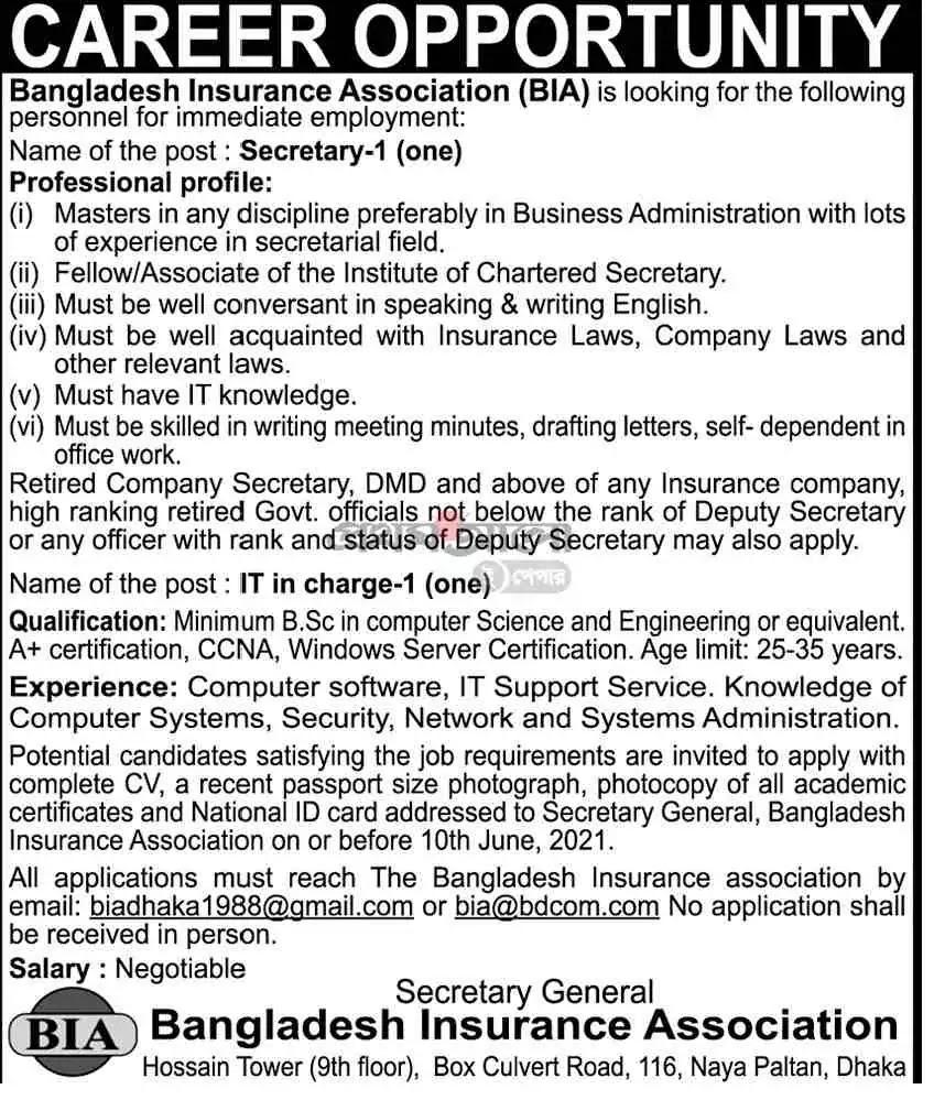 BIA Job Circular 2021