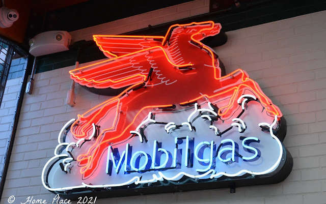 Vintage Neon Mobil Gas sign at Camacho Garage