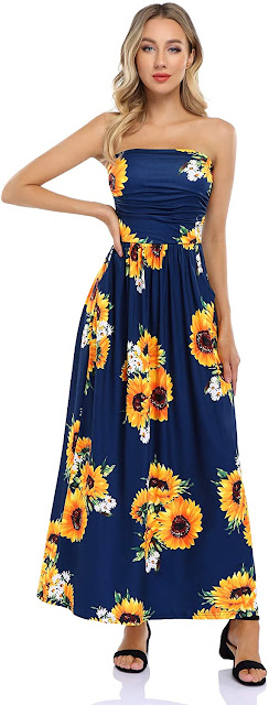 Beautiful Floral Strapless Maxi Dresses