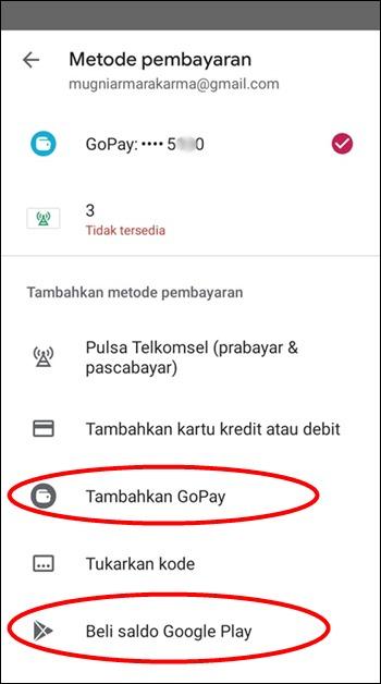 Tambah GoPay di Play Store
