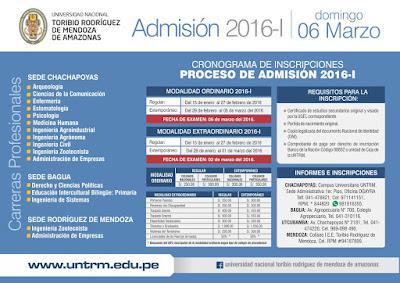 Examen de  ADMISION UNTRM 2016-I Ordinario 2 de marzo - Extraordinario 6 de Marzo
