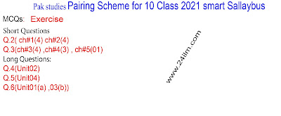 10th Class Pak Studies Pairing scheme 2021