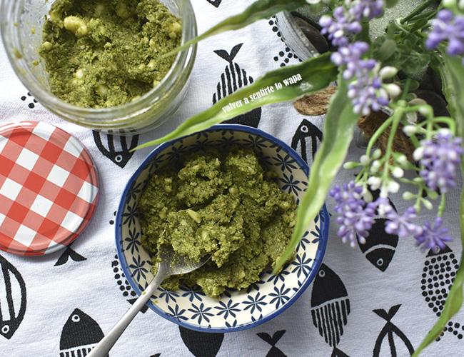 Pesto de espinacas y avellanas