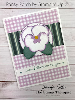 Stampin' Up!®s brand new (sneak peek) Pansy Patch Bundle and Pansy Petals Designer Series Paper!  I made this card on my weekly Facebook Live.  Measurements, supply list, and link to video on the blog. #StampinUp #StampTherapist #PansyPatch
