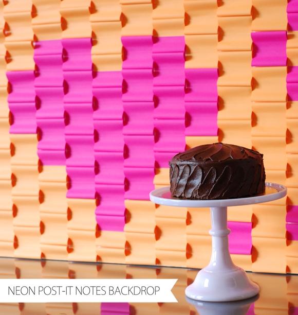 DIY Neon Heart Post-it Notes Backdrop  - via BirdsParty.com