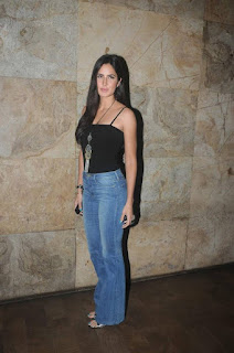 Katrina Kaif in a Black Tank Top and Denim Jeans with a beautiful Full Length Necklace