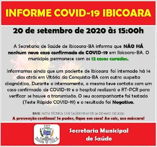Ibicoara segue sem novos casos ativos de Covid-19, diz secretaria