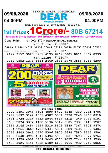 Lottery Sambad Result 09.08.2020 Dear Prospect Sunday 4:00 pm