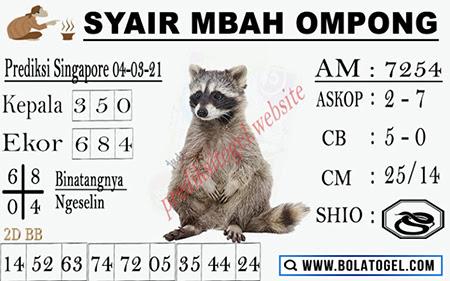 Syair Mbah Ompong SGP Kamis 04-03-2021