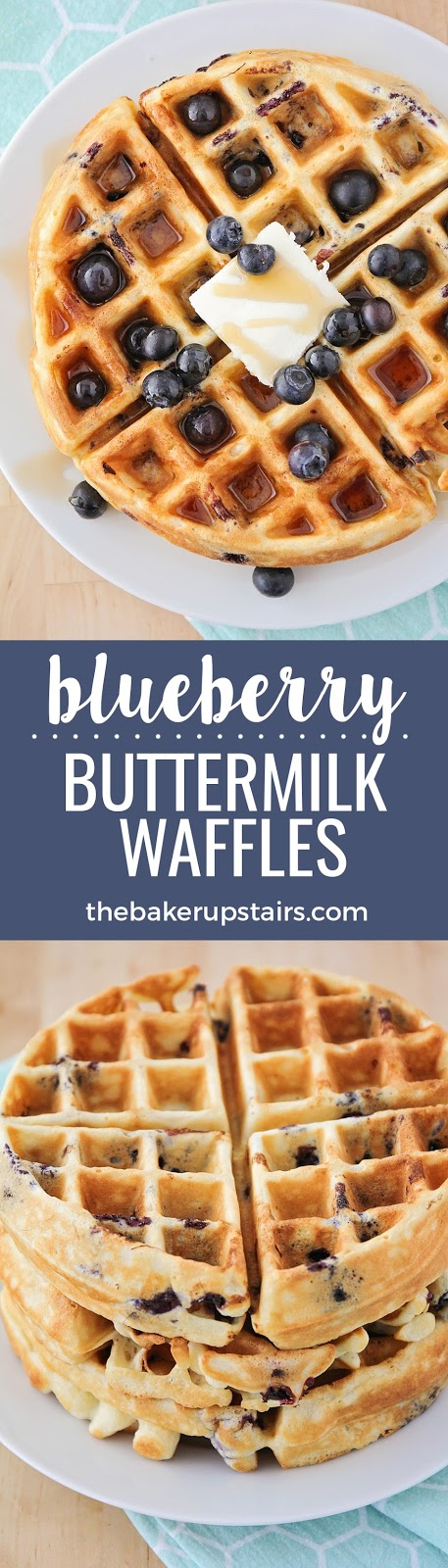 These blueberry buttermilk waffles are crisp on the outside, light and tender on the inside, and so delicious!