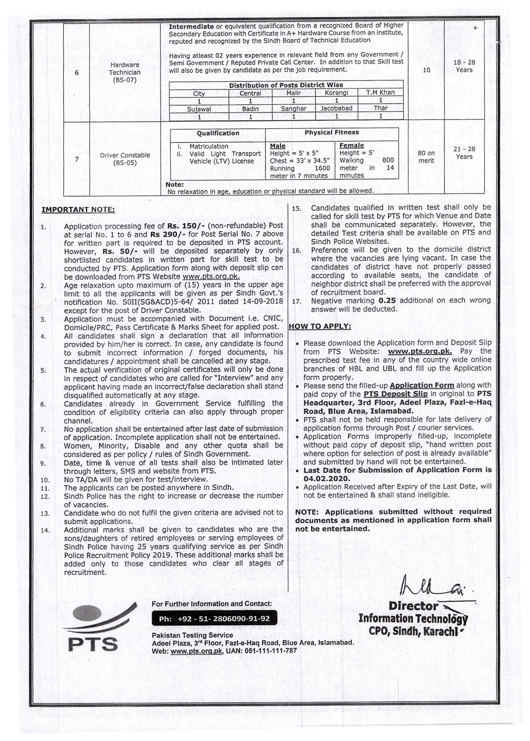 1110+ Jobs in Sindh Police Department of IT Cadre 2020