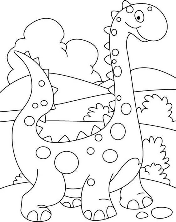 Tranh tô màu khủng long cute