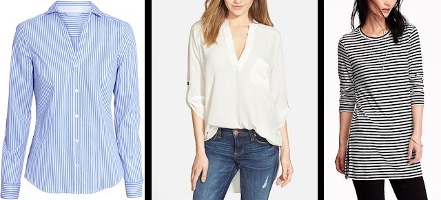 Back to School Teacher Wardrobe Dress Professionally Blue Oxford White Tunic Striped Tunic shirt