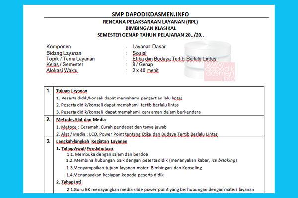 RPL BK SMP Kelas 9 Revisi Terbaru 1 Halaman Kurikulum 2013, Contoh Rencana Pelaksanaan Pelayanan BK Bimbingan Konseling Format 1 Lembar
