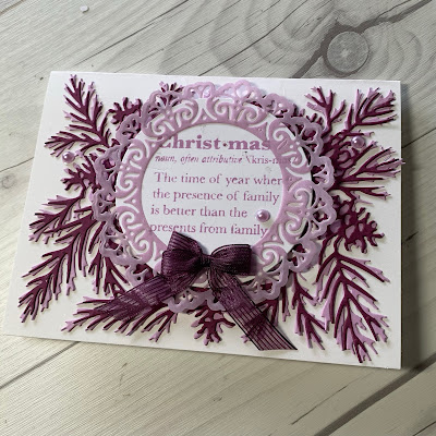 Handmade Christmas Card with pine sprig die cuts and Christmas definition