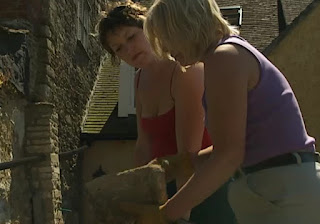 Dilys finds a flat stone