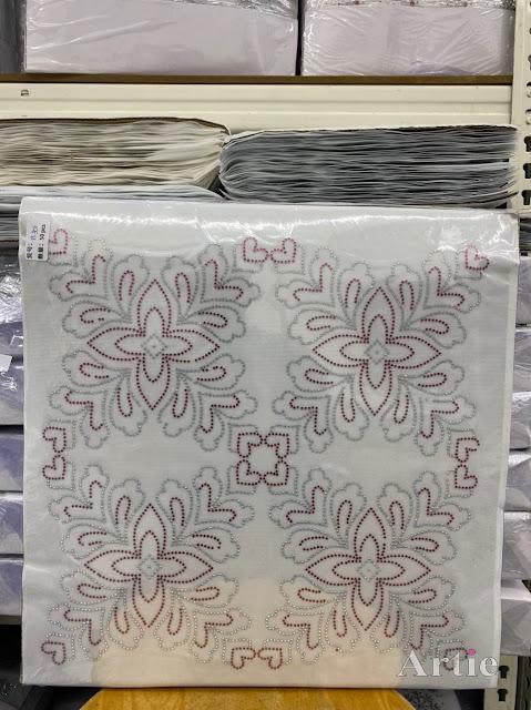 Hotfix stickers dmc rhinestone aplikasi tudung bawal fabrik pakaian corak bunga 4 bucu