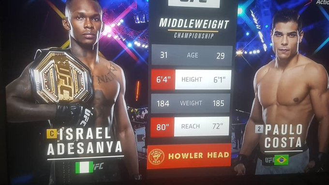 JUST IN: Adesanya Knocks Out Costa To Win His 20th Career MMA Victory (Videos)