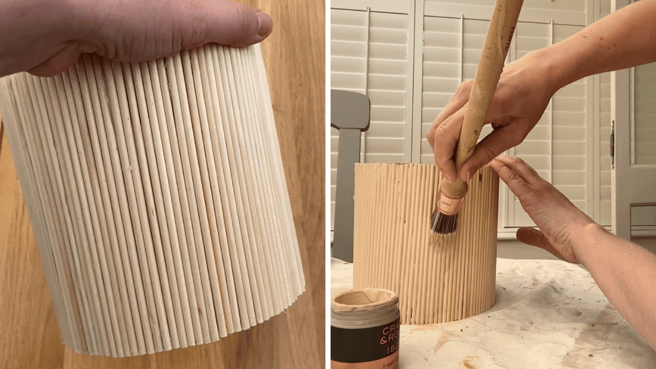 Make a reeded plant pot from a candle using wooden dowels. Craft project inspiration to make home decor on a budget. Simple crafts for beginners