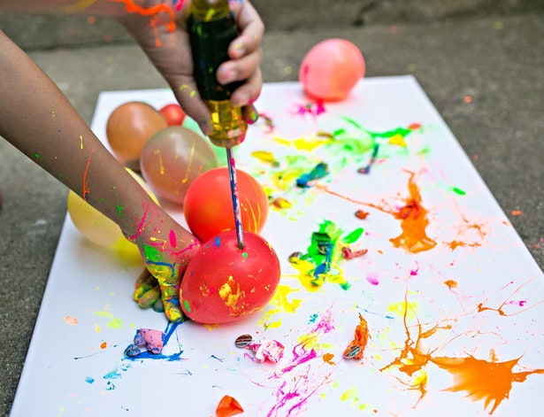 balloon splatter painting - summer camp activities