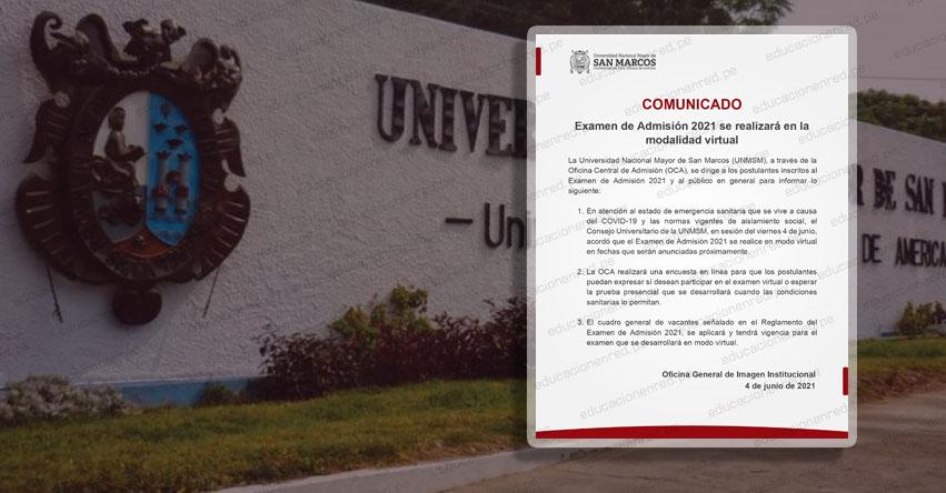UNMSM: Examen de admisión 2021 a Universidad Nacional Mayor de San Marcos será virtual