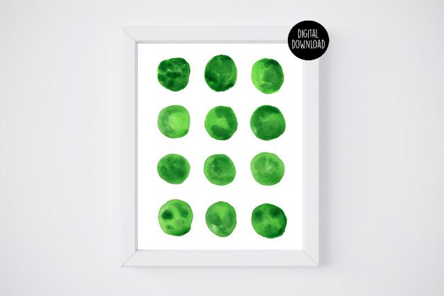 green circles watercolor painting // 8x10 // printable digital download