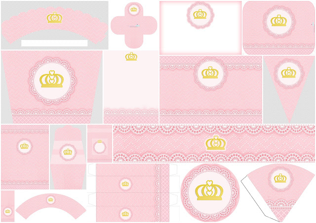 Sweet Golden Crown in Pink Lace Free Printable Kit for Weddings.