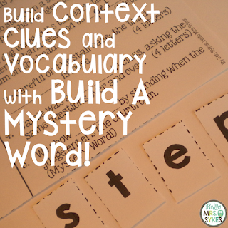 Word Work for Big Kids Freebie alert! Need challenging and engaging activities for Upper Elementary students working on words? The Build A Mystery Word set is a great way to get your students actively manipulating letters to create new words while practicing context clues, dictionary skills, and boosting their vocabulary.