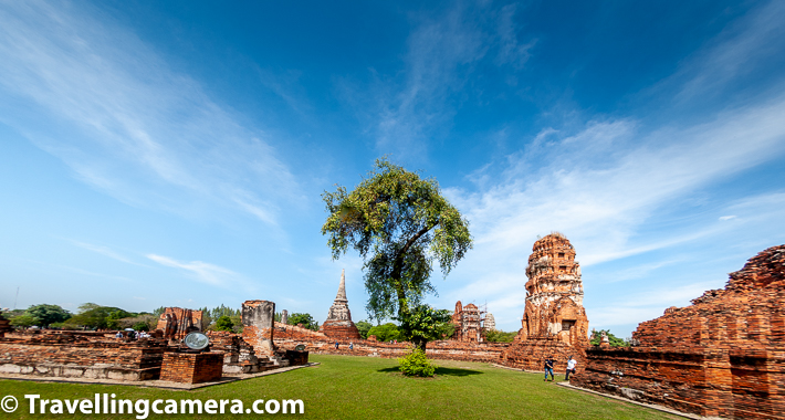 Related Blogpost - Wat Saen Muang - A hidden gem among Chiang Mai Temples in Thailand    Here is another panoramic view of other side of Wat Phra Ram in Ayutthaya town of Thailand. Above photograph is clicked with a fish eye and don't miss to notice 2 small humans walking around the temple campus which gives a better perspective about size of the temples in UNESCO World Heritage city Ayutthaya.