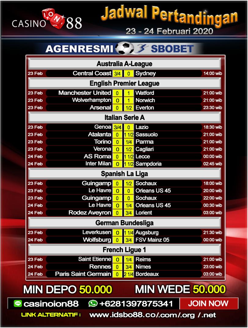 Jadwal Pertandingan Sepak Bola 23 - 24 Februari 2020 ...