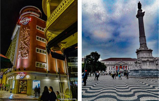 Hard Rock Café Lisboa e Praça do Rossio, próximos ao Hotel Portuense