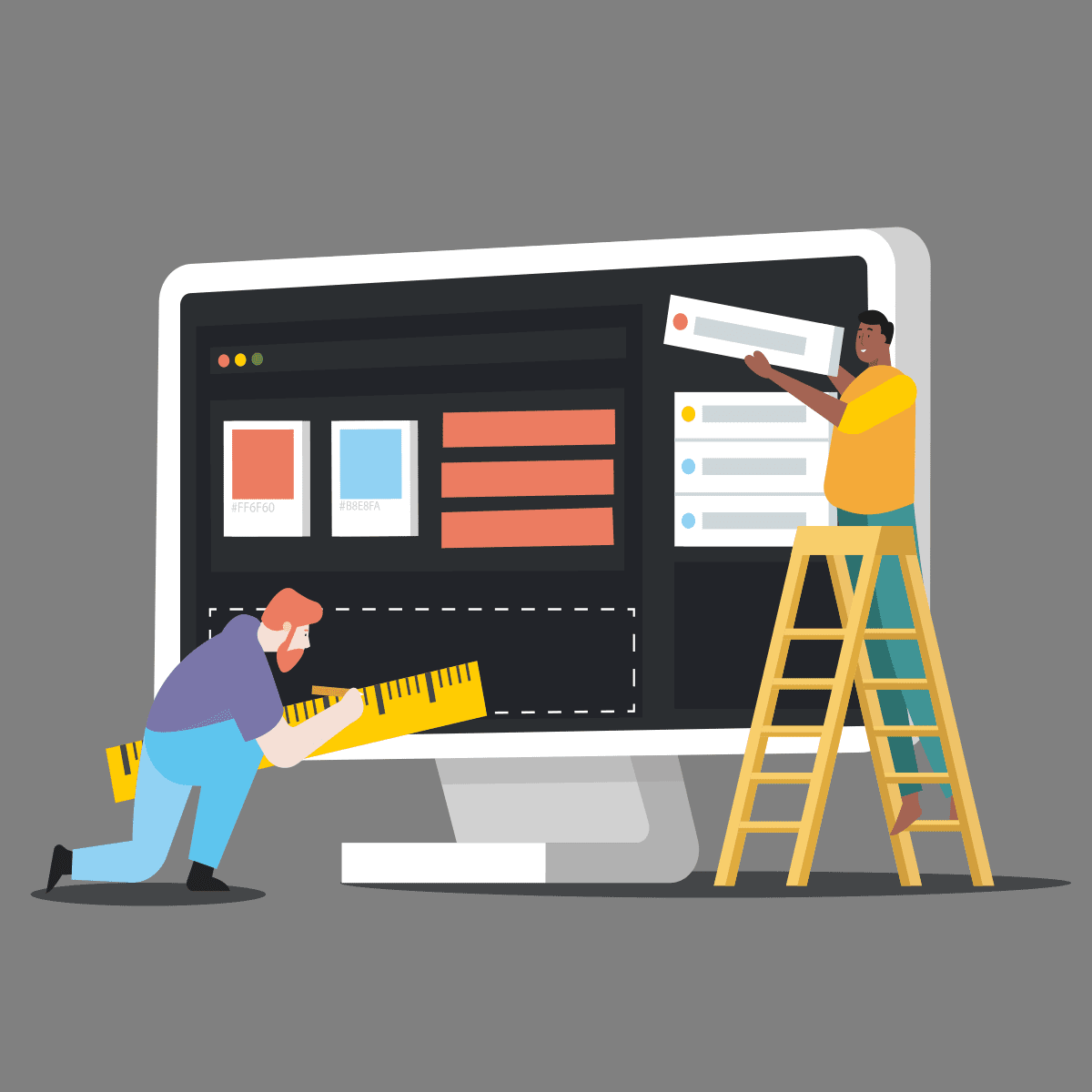illustration of people creating a sticky website