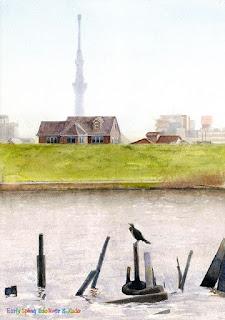水彩画 「春 江戸川」