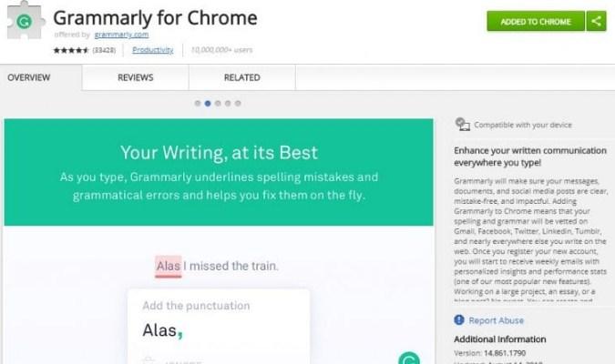 Ekstensi Google Chrome tuk Pelajar - Grammarly